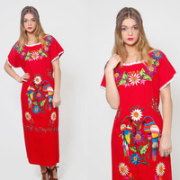 Vintage MEXICAN Dress Red EMBROIDERED Lovebird Ethnic Hippie Dress Boho Festival Tent Dress Cotton Midi Dress