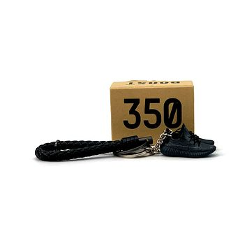 3D Sneaker Keychain- Adidas Yeezy Boost 350 V2 Static Black (Reflective) Pair