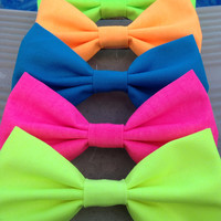 NEON hair bow / bow tie green yellow orange blue and pink available