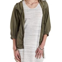 Drawstring Hooded Jacket with Pockets by Charlotte Russe