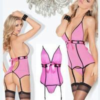 Pink Bow Tie Teddy Lingerie