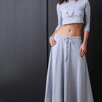 Self Tie Drawstring Maxi Slit Sweat Skirt