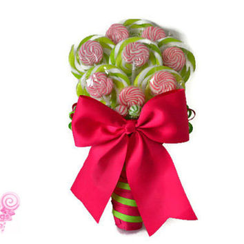 Pink and Green Lollipop Bridal Bouquet, Candy Wedding Bouquet, Pink and Green, Rehearsal, Bouquet, Lollipop Bouquet, Candy Bouquet, Wedding