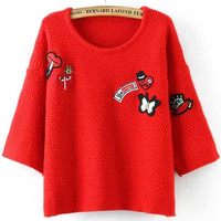 Red Badge Half Sleeve Knit Cropped Sweater