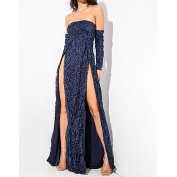 Vanderlily Long-Sleeved Dark Blue Sequin Detailed Maxi Gown