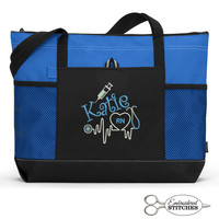 Personalized Nurse, Medical Personnel Embroidered Zippered Tote Bag