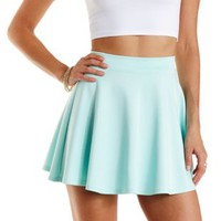 Mint Scuba Knit Skater Skirt by Charlotte Russe