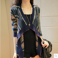 New 2016 spring women fashion Striped Cape cardigan loose women long-sleeved sweater Knitted cardigan sweater coat AE296