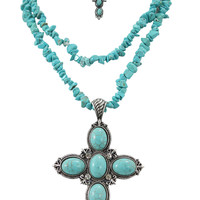 Western Cowgirl Bohemian Layered Turquoise Cross Pendant Necklace & Earrings Set