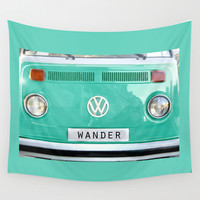 Wander wolkswagen. Summer dreams. Green Wall Tapestry by Guido Montañés