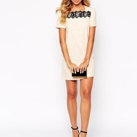 Paperdolls Shift Dress with Lace Insert