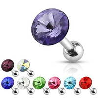 9 Pcs Value Pack of Surgical Steel Pointy Crystal Cartilage/Tragus Barbell