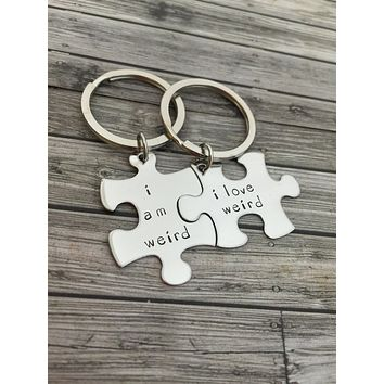 I am weird I love weird, Couples Keychains, Couples Gift Ideas, Christmas Gift, Anniversary Gift
