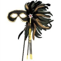 Black And Gold Cocktail Feather Mask - Adult Std.