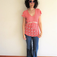 Vintage Ethnic Peru Woven Red and White Hippie Boho Top
