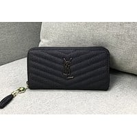 YSL Saint Laurent Fashion New Joker Casual Wallet Clutch Black