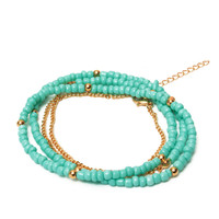 Women Sexy Bikini Green Bead Belly Waist Chain Body Necklace Jewelry
