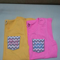 """Personalized Sorority """"BIG"""" """"little"""" Frocket Comfort Colors tank tops Embroidered Big Little Tanks with Appliqued Pocket Greek Tank Top"""