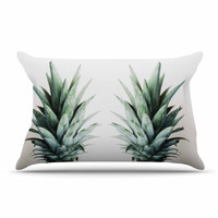 """Chelsea Victoria """"Two Pineapples"""" Green Gold Pillow Sham"""