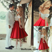 Two Piece Short Prom Dress Red Two Pieces Prom Dresses Two Piece Cocktail Dress