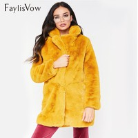 Winter Thick Warm Faux Fur Coat Plus Size Women Casual Solid Long Sleeve Fluffy Jacket Female Ladies Shaggy Plush Teddy Coats