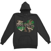 Wu Tang Clan Men's  Camo Logo Pullover Hoodie Mens Hooded Sweatshirt Black