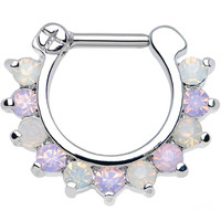 "16 Gauge 1/4"" Alluring Faux Opal and Light Purple Gem Septum Clicker 