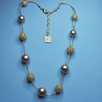 ANNE KLEIN Vintage Faux Champagne Pearl, Topaz Crystal Bead and Gold Snake Chain Station Necklace, Sparkly & Gorgeous! #A121