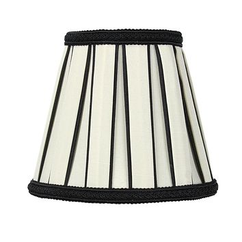 """5""""W x 5""""H Eggshell with Black Chandelier Clip-On Lampshade"""