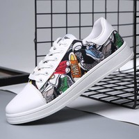 Male canvas student Chinese style ink painting printing national tide net red with running shoes hip hop shoes