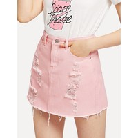 Distressed Denim Skirt in Washed Pink