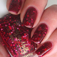 """Nail polish - """"No love lost""""  red and pink glitter in a dark red jelly base"""