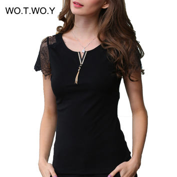 Sexy Sleeve Lace T Shirt Women Diamond Metal Tassel V Neck Letter T-Shirt Fashion Knitted Tee Cotton