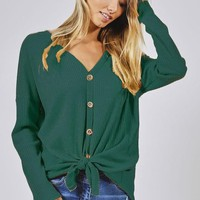 Thermal Knit Button Up Knit Top - Hunter Green