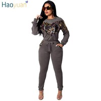 HAOYUAN Velour Tracksuit Women 2 Two Piece Outfits Velvet Sequin Tops and Pant Sweat Suit Autumn Winter Sweatsuit Matching Sets