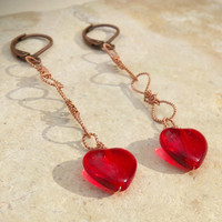 Handmade Twisted Copper Wire Chain Dangly Earrings with Red Glass Hearts