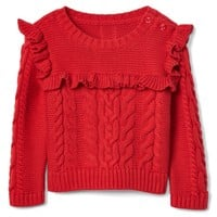 Cable-knit ruffle sweater|gap