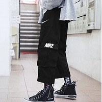 NIKE New fashion embroidery letter hook print pants Black