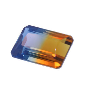 16 Carat Emerald Cut Bicolor Quartz Gemstone - Loose Stones Crystals For Jewelry Making & Crafts