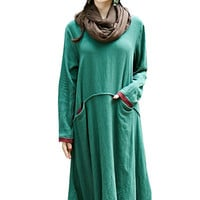 Green Long Sleeve Flounced Dress with Pocket