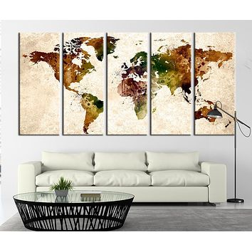 Watercolor World Map on Old Paper Canvas Art Print World Map Print for Home Decor No:003