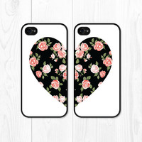 Besties Black Coral iPhone 5 Case - iPhone 5s Case - iPhone 4 Case - Best Friends Phone Case Peach Heart Floral Phone Case - iPhone 5c Case