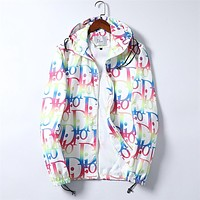 Dior CD New Fashion Colorful Letter Printing Top Zipper Hoodie Personalized Jacket