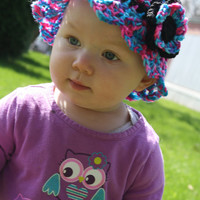 Infant - toddler Pink and Black Sun Hat with layered Flower- summer baby, baby hat, Spring hat, photo prop, baby shower gift