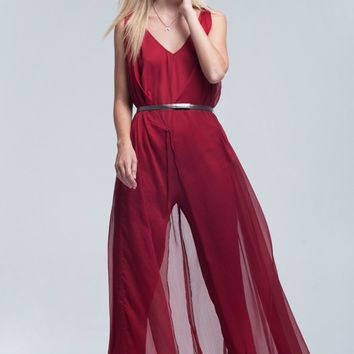 Layering red jumpsuit