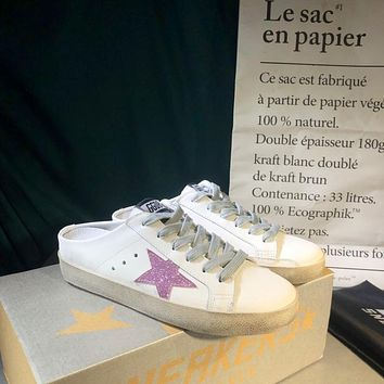 Golden Goose Ggdb White Leather And Pink Star Slipper-1
