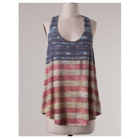 """American Pride"" Rustic Stars and Stripes Sleeveless Top"