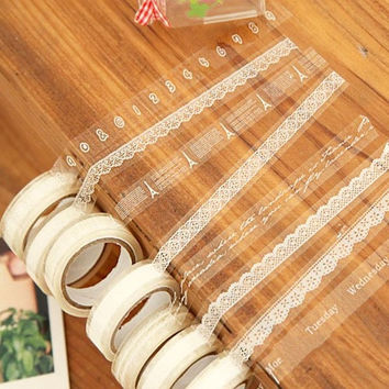 White Translucent Sticky Adhesive Various Pattern Tape Decorative Lace Stickers (Size: 5.1cm by 5.1cm by 1.5cm) = 1932859012