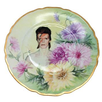 Antique Altered Plate David Bowie