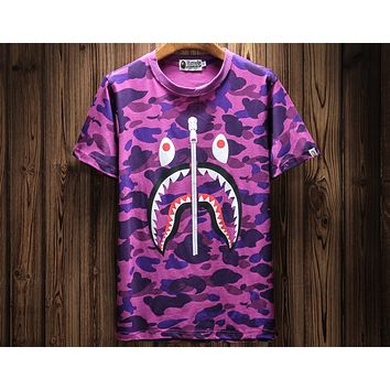 BAPE 2018 spring and summer new camouflage shark sports street short-sleeved T-shirt F-A-KSFZ Camouflage purple